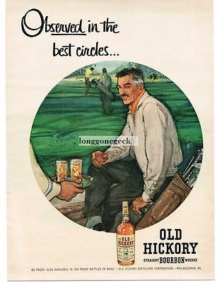 1955 Old Hickory Bourbon Whisky art Vintage Print Ad