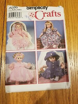 Simplicity Doll Clothes Pattern #9286 - Unused - Factory Fold!!!