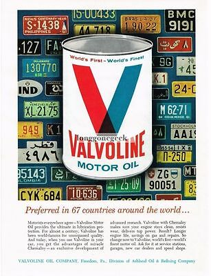 1965 Valvoline Motor Oil in front of License Plates Vtg Print Ad
