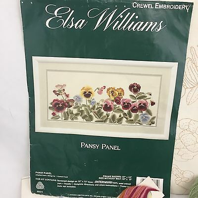NEW Crewel Embroidery Kit by Elsa Williams Pansy Panel #00371 Floral Design