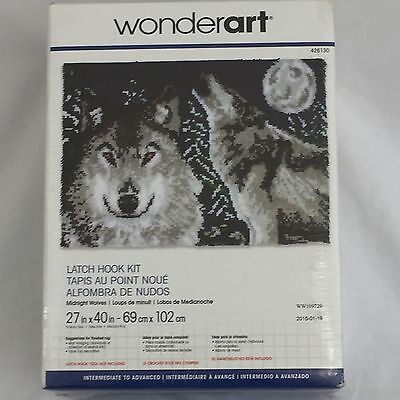 "Wonderart MIDNIGHT WOLVES Latch Hook Kit 27"" X 40"" NEW Sealed #426130"