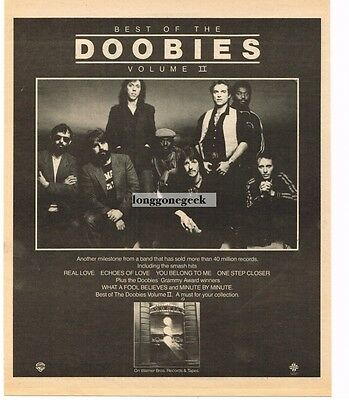1981 THE DOOBIE BROTHERS Best Of Vol II Vtg Album Promo Print Ad
