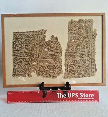 Pre Columbian Textile 9 -12th Century Mounted Framed Chancay Painted Textile Fra