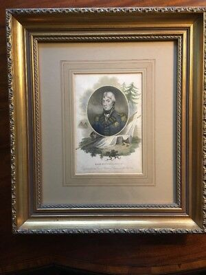 Framed Copper Plate Engraving  Issued 1811 Lord Hutchinson, Wellington Campaign