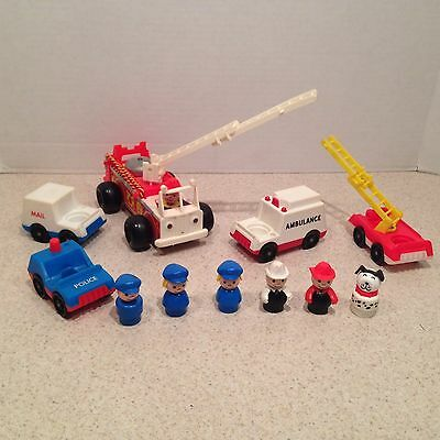 Vintage Fisher Price Little People Police Fire Ambulance Mail Trucks + People