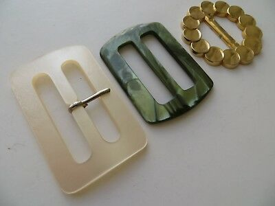 Assorted Vintage Big/Med MOD 60's Moonglow White/Green & Gold Craft Belt Buckles