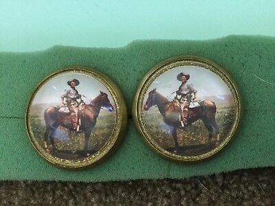 Horse bridle rosette / button----- cowboy on horse