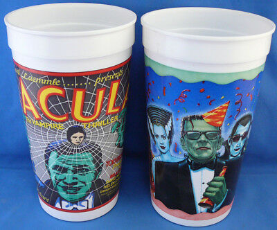 2 Different Pepsi Cups Dracula,frankenstein,creature From Black Lagoon,more
