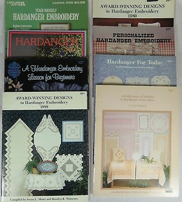 Lot of 8 Hardanger Embroidery Pattern Books Booklets Magazines, Meier, Watnemo