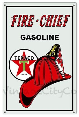 """2 Antique Style """"Texaco Fire Chief"""" Gasoline Metal Signs"""
