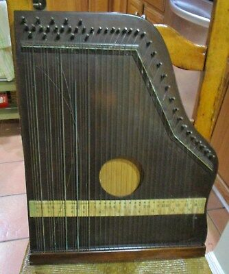 Antique 43 string Zither Autoharp Wooden Box Musical Instrument in wood case
