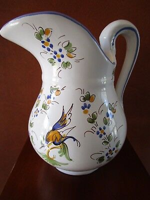 Vintage Hand Painted Moustiers French Faience Pitcher Jug