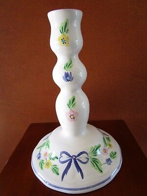 Vintage Herend Hand Painted Pottery Floral Candle Stick Holder Hungary