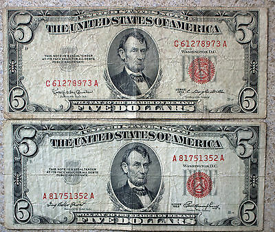 Lot of 2 $5 paper money Five Dollar Bill Currency Average circulated 1953 1953C