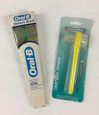 Lot of 2 Vintage Denture Brushes Oral B & Dimensions 1980s NOS Made in USA