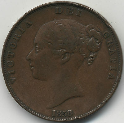 1858/3 Victoria One Penny***Collectors***Rare Over Date***