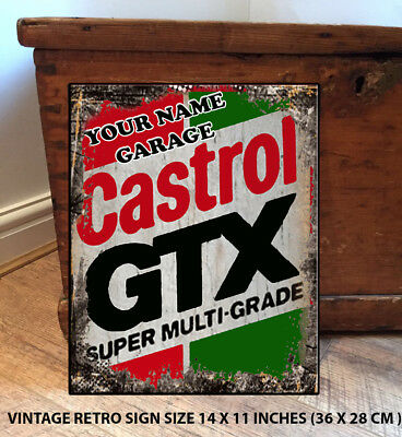 PERSONALISED CASTROL GTX  14 X 11 INCHES GARAGE SHED GIFT   Vintage  Metal Sign