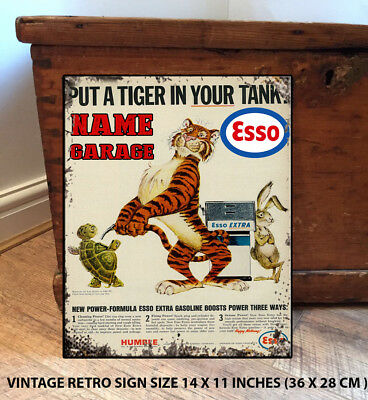 PERSONALISED ESSO GARAGE  SHED  DAD  GIFT  Retro Vintage  Metal Wall Sign
