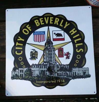City of Beverly Hills Crest 1914 California sign 12 x 12 50031