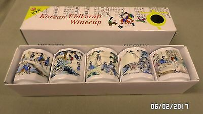 1992D Korean Folkcraft 5 Winecups/Sake in Box Sae-Chen Ceramic 5 Oriental Scenes