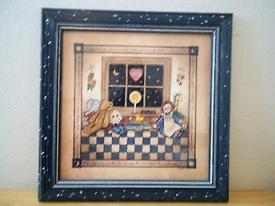 Mother Goose Bedtime Stories Animated, Framed, Signed L. Spivey Baby Nursery