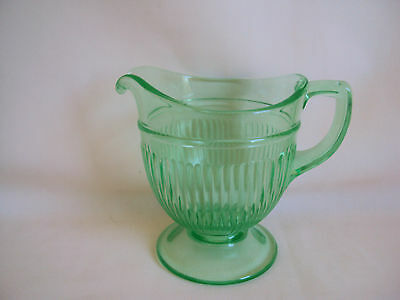 Vintage Green Vaseline Depression Glass Creamer Only