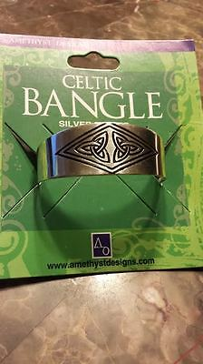 Silver plated Cuff Celtic Unisex Double Trinity Design Bangle