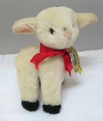 Vintage Christmas Pure Wool Baby Lamb Sheep 1970's Ornament w Foil Tag T73