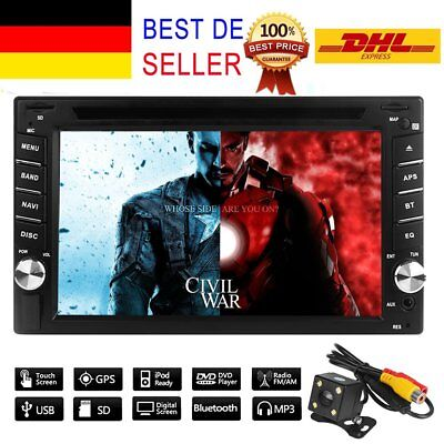 "6.2"" GPS Navi HD 2DIN Bluetooth Car Stereo DVD Player Touch Screen USB SD EU map"