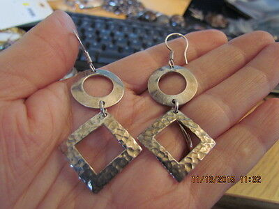 Fabulous Vintage Mcm Modernist Sterling Silver Mexico Hammered Drop Earrings
