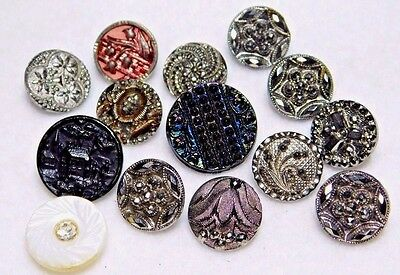 ANTIQUE BUTTON Lot Small LUSTER Glass Carnival Glass, Pearl, Castle