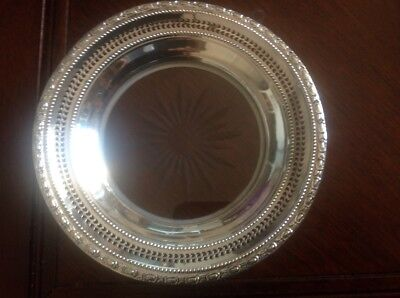 6 3/4 Inches Frank Whiting Sterling Silver Crystal Wine Coaster