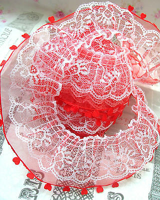 ❤️ Lot 9 M (0,65 Eur Le M) Dentelle Double Rangs 55Mm Organza Tulle Froncé