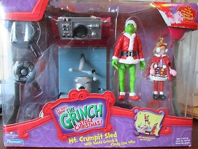 NIB Dr. Seuss How the Grinch Stole Christmas Mt Crumpit Sled w/Grinch&Cindy Lou
