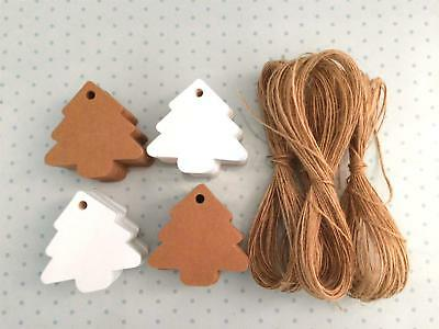 10/25/50/100 Chrismas Tree Kraft Paper Gift Tags Label Luggage Parcel + Strings