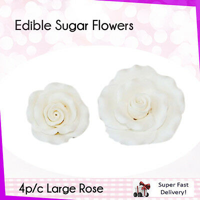 Edible Sugar Flowers 4 Large Rose Cake Cupcake Decorations Toppers Flowers White