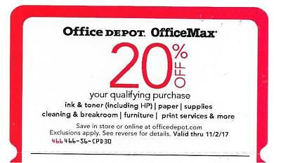 Office Depot Office Max 20% Off Purchase Exp. 11/2/2017 or your best offer