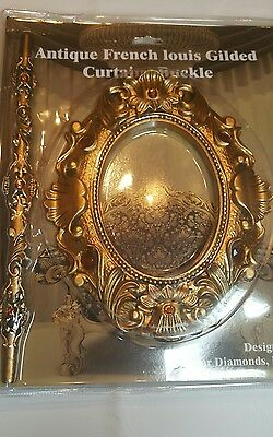 1 Pair (2 pieces)Antique French Louis Gilded Curtain Buckle/Tie Back