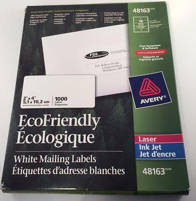 """Avery #48163 Ecofriendly White 2""""x4"""" Mailing Labels 62 Sheets Of 100 Remaining"""