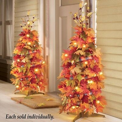 2 of Set Lighted Collapsible Harvest Tree Autumn Bright Fall Decor