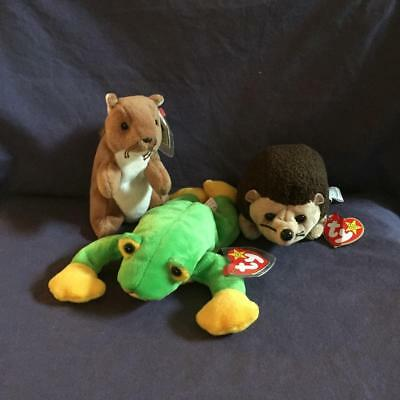 Ty Beanie Babies Nuts The Squirrel Smoochy The Frog Prickles The Porcupine