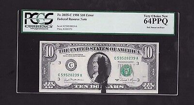 Error Note..1981 $10 Frn, Ink Smear On Face, Fr# 2025-C, Pcgs 64 Ppq