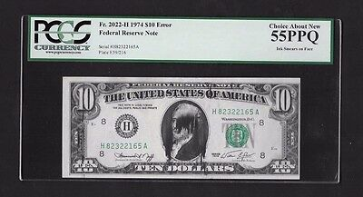 Error Note..1974 $10 Frn, Ink Smears On Face, Fr#2022-H, Pcgs Can 55Ppq