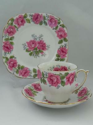 Lovely  QUEEN ANNE *Lady Alexander Rose* TRIO - Cup/Saucer / Side Plate - VGC