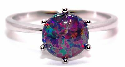 Sterling Silver Black Fire Opal 2.3ct Ring (925)