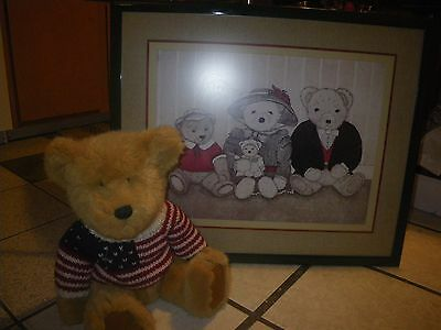 Set~Teddy Bear Family Picture PLUS Brown Stuffed Bear With Knitted American Flag