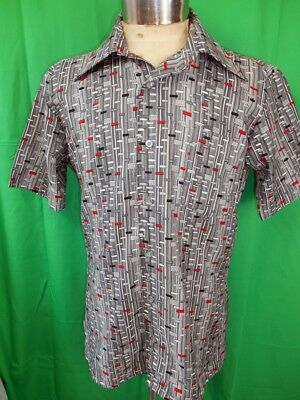 Vintage 70s 80s Grey Silver Red Oleg Cassini by Burma Short Sleeve Poly Shirt M