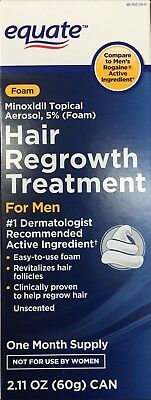 Equate Hair Regrowth for Men Minoxidil Topical Aerosol, 5% (Foam) 2.11 oz -NEW-