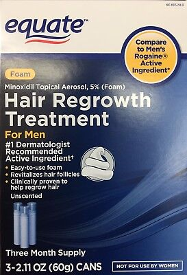 Equate Hair Regrowth for Men Minoxidil Topical Aerosol, 5% (Foam) 3X2.11oz -NEW-