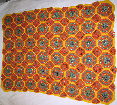 HANDMADE Crochet AFGHAN Knit THROW vtg Floral FLOWER Quilt COUCH Lap BED BLANKET